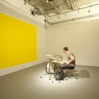 BEAT, 2007/2012 acrylic paint, drum kit,live performance with musicians, painted square 8.5' x 8.5'