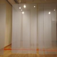 Bourbon as a Second Language, 2011 chiffon, vinyl 18' x 6' x 10.5' site specific installation
