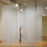 Bourbon as a Second Language, 2011 chiffon, vinyl 18' x 6' x 10.5' site specific installation