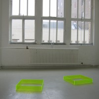 """Four Kicks, 2005 pair of Plexiglas boxes each box 4"""" x 24"""" x 24"""" edition of 10"""