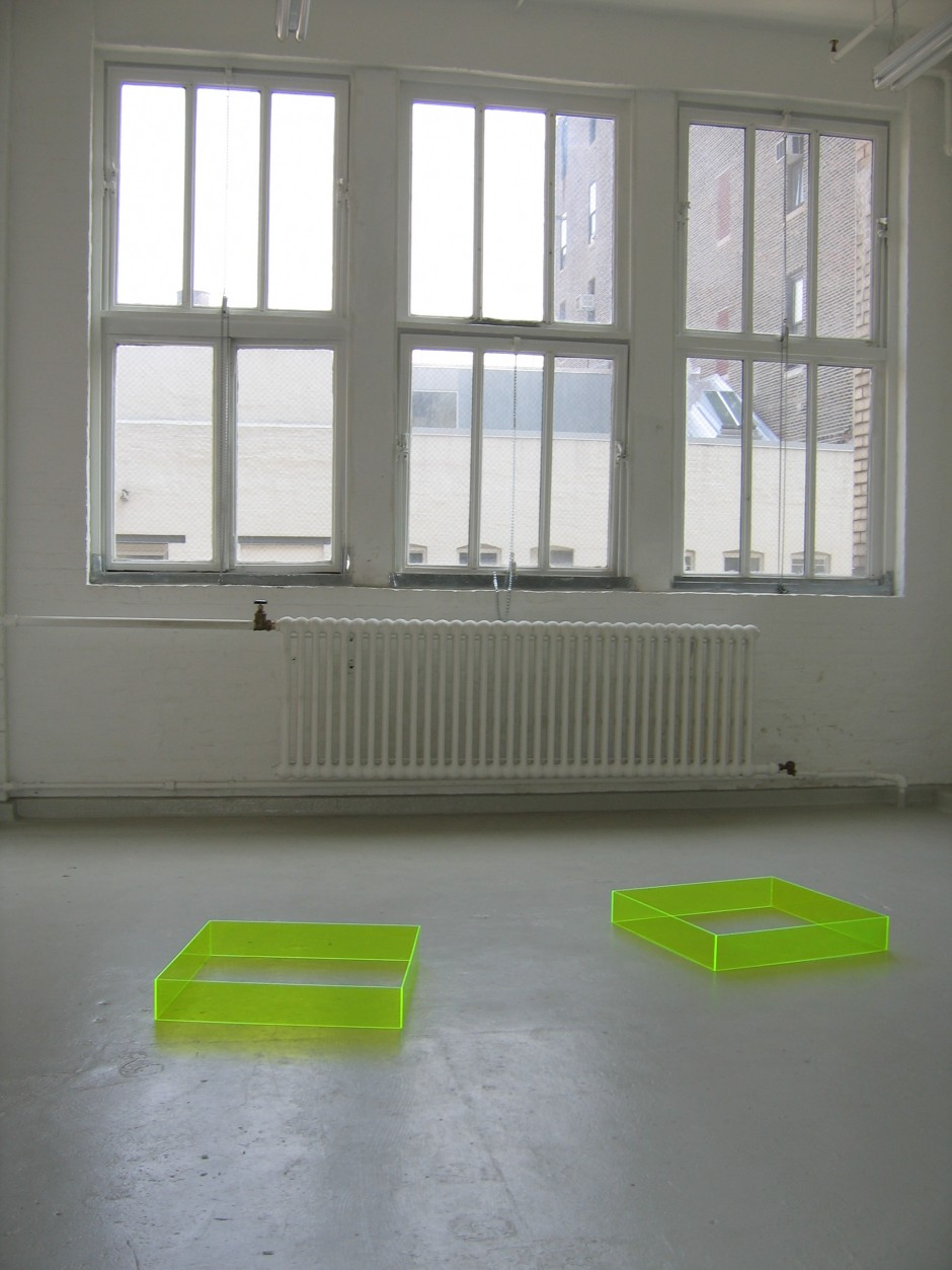 "Four Kicks, 2005 pair of Plexiglas boxes each box 4"" x 24"" x 24"" edition of 10"