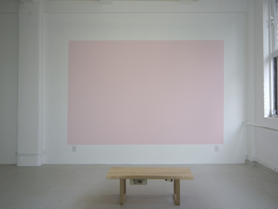 "Limitless and Lonesome, 2005 acrylic paint, original recorded music, wood bench rectangle: 90"" x 135"", room size variable"