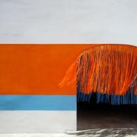 Measuring a Summer's Day, 2012 acrylic paint, vinyl curtain site-specific installation: Museo de Arte Contemporaneo de Oaxaca