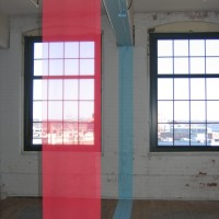 The Rail, 2009 chiffon, acrylic paint 9' x 26' x 1' site-specific installation: deconstruct II, Providence, RI