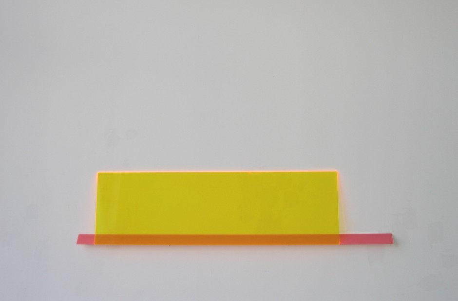 "Shake Some Action, 2006 Plexiglas, nails 9"" x 39"" x 1"""