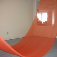 Slow Your Ride, 2009 chiffon, tape site-specific installation-The Skydive, Houston, TX