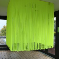 "So I Built a Raft, 2013 vinyl curtain, tinted light 55"" x 55"" x 55"""