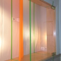 "The Radiant Hour, 2010 vinyl curtain, tape 80"" x 65"" x 10"" site-specific installation at The Chapin School, New York, NY"