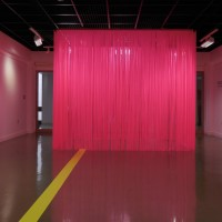 What You Dance Like, 2016, vinyl curtain and adhesive vinyl, room size: 9x16x35 feet