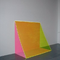 "Pink, 2002 Plexiglas, acrylic paint 42"" x 48"" x 12"""